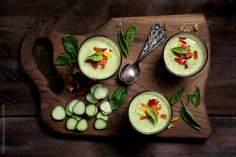 Cucumber and basil gazpacho soup by Pixel Stories for Stocksy United