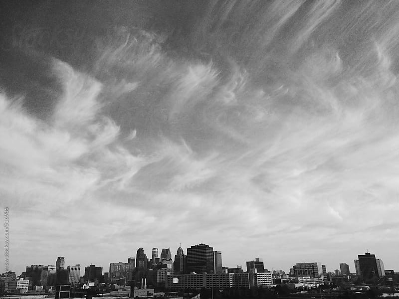 Detroit Michigan skyline by Jesse Morrow for Stocksy United