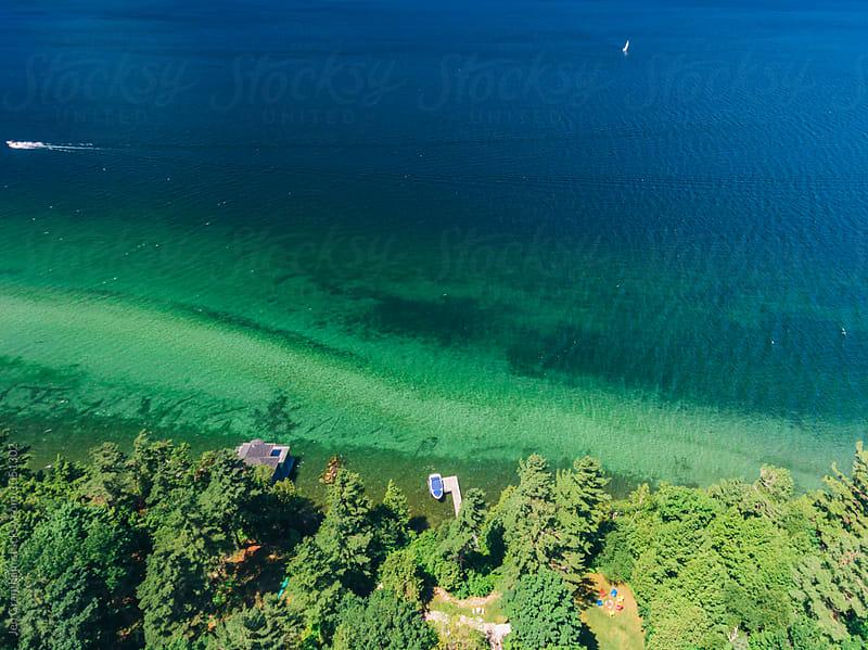 Aerial lake landscape by Jen Grantham for Stocksy United