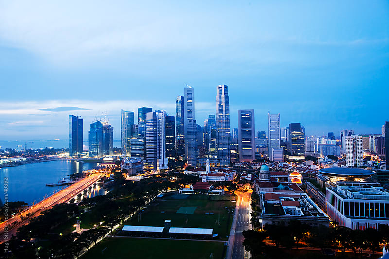 Overview of Singapore Business district. by Hugh Sitton for Stocksy United