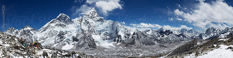 Mountain peaks super panorama Mt Everest high altitude Himalayas Nepal by Dejan Ristovski for Stocksy United