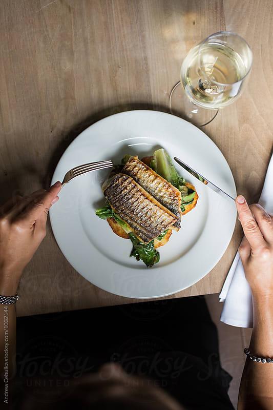 La Caballa a la Plancha con Escarola,  Grilled Mackerel with Escarole by Andrew Cebulka for Stocksy United