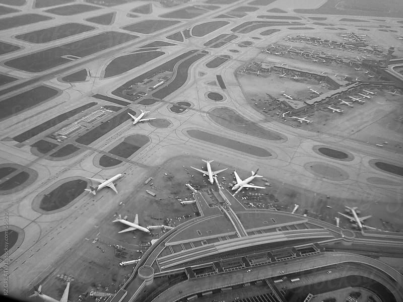 Black and white aerial image of the Chicago airport captured with an iPhone. by Robert Zaleski for Stocksy United
