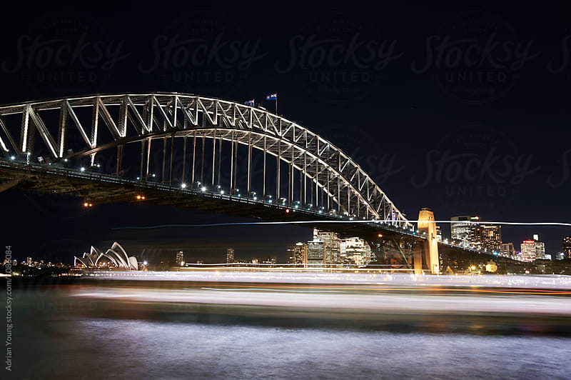 Light Streaks Under The Sydney Harbour Bridge by Adrian Young for Stocksy United