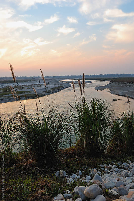 Riverbank sunset by Saptak Ganguly for Stocksy United