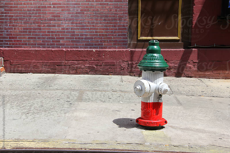 Fire hydrant on city street painted the colors of Italy by Monica Murphy for Stocksy United
