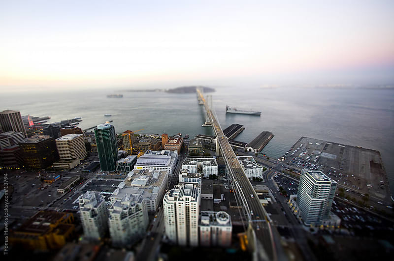 Aerial view of Bay Bridge and San Francisco by Thomas Hawk for Stocksy United