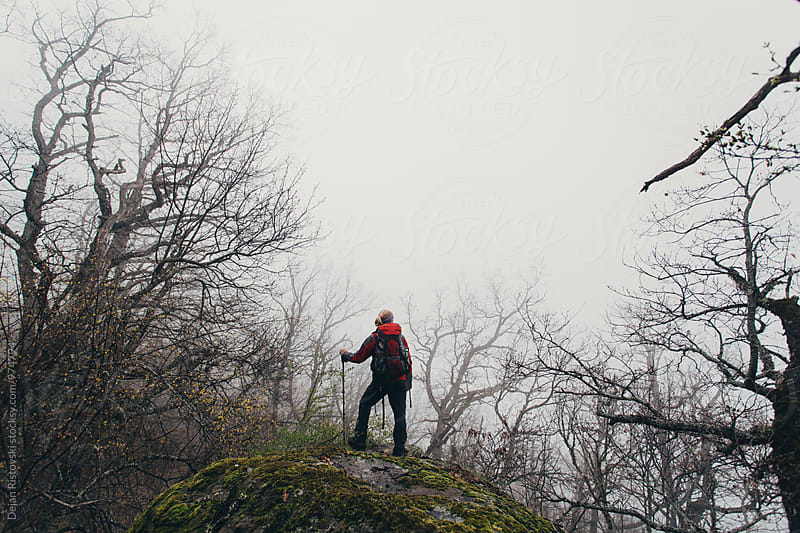 Hiker standing on a viewpoint. by Dejan Ristovski for Stocksy United