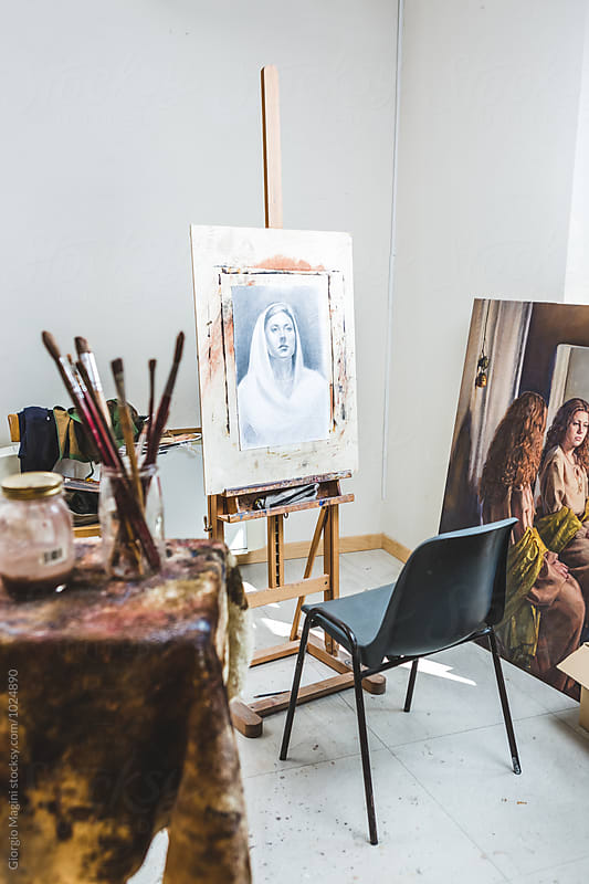 Artist's Atelier with a Drawing on an Easel by Giorgio Magini for Stocksy United