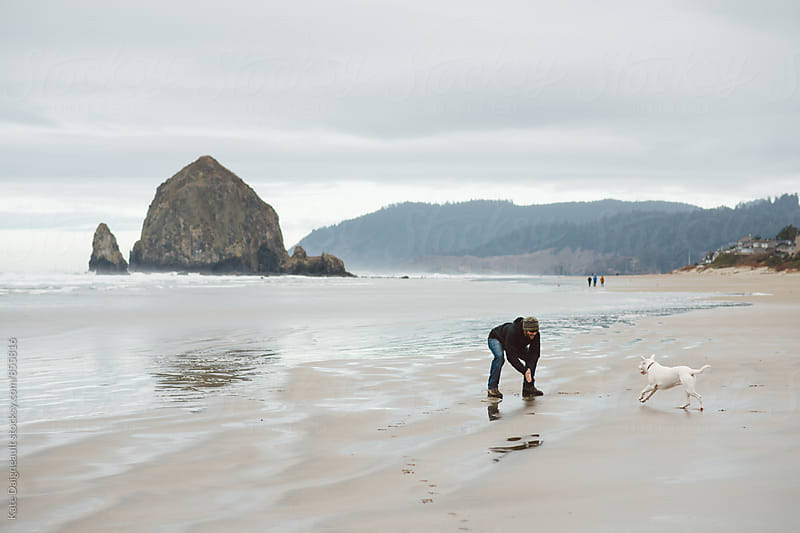 Young man playing with his dog near a huge rock formation on the Oregon coast. by Kate Daigneault for Stocksy United