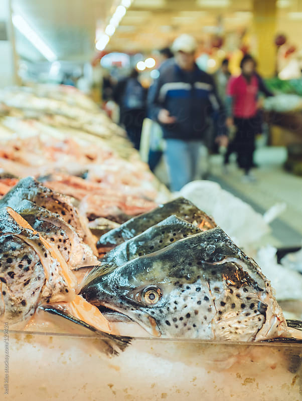Fish heads, steaks and fillets at fishmarket by Kelli Seeger Kim for Stocksy United
