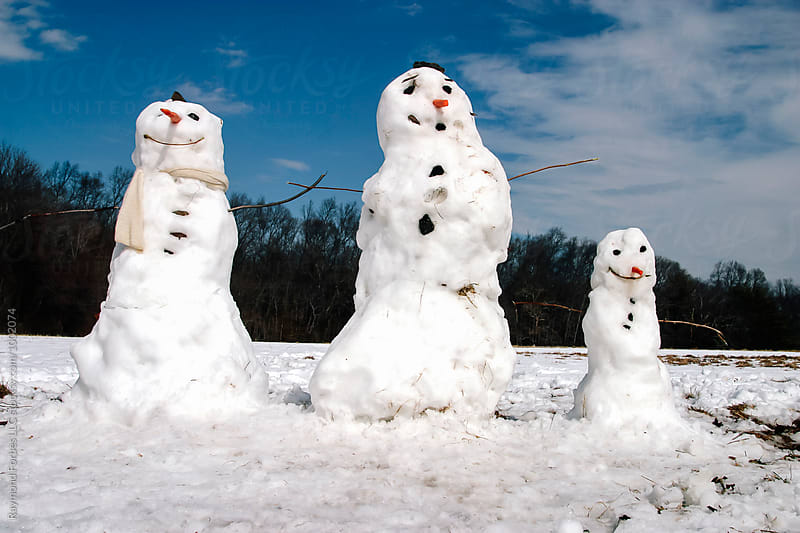 Snowman Family by Raymond Forbes LLC for Stocksy United