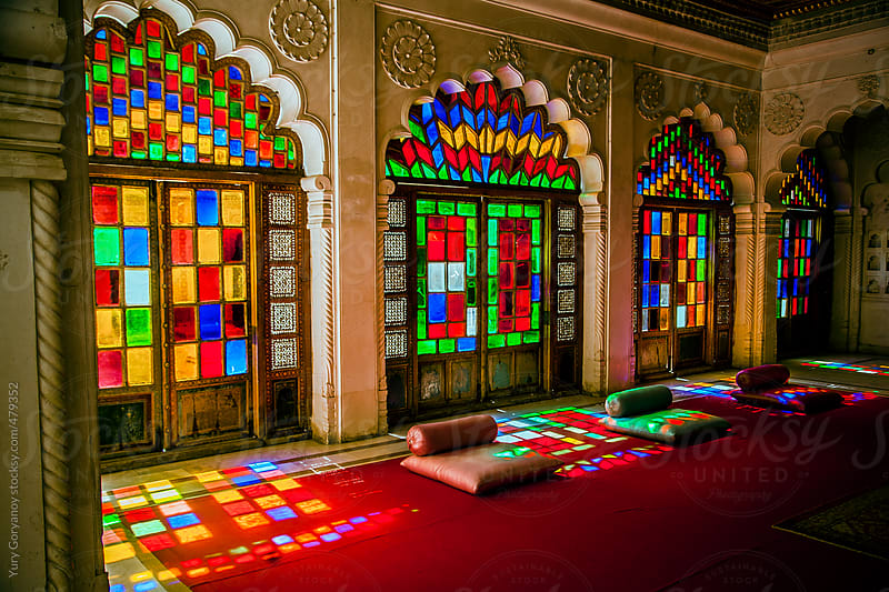 Indian hall with stained glass by Yury Goryanoy for Stocksy United