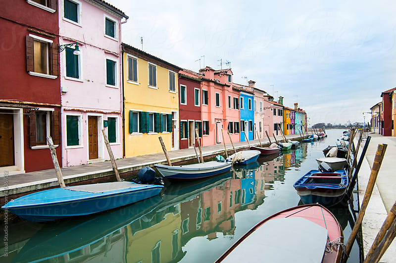 Colorful street with a canal in Burano by Bisual Studio for Stocksy United