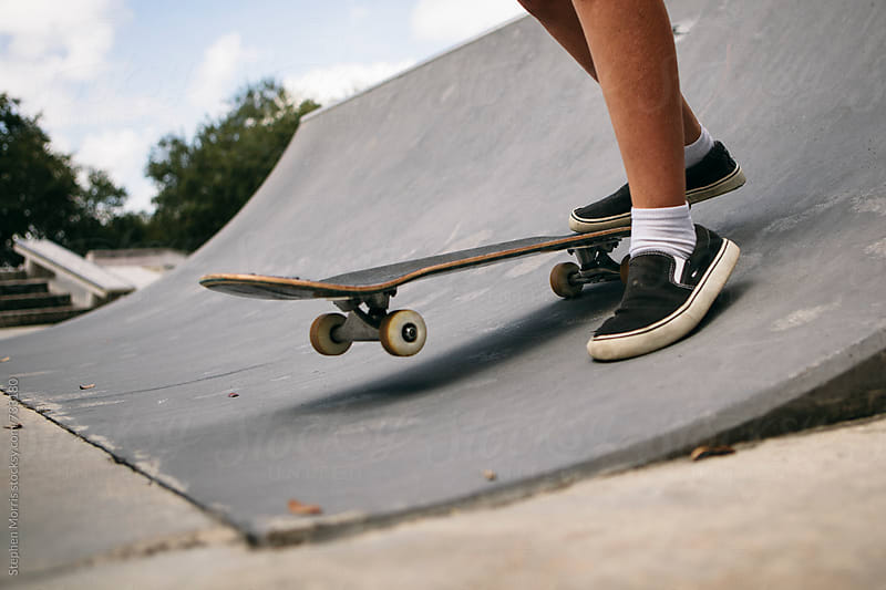 Feet of Skateboarder on Ramp by Stephen Morris for Stocksy United