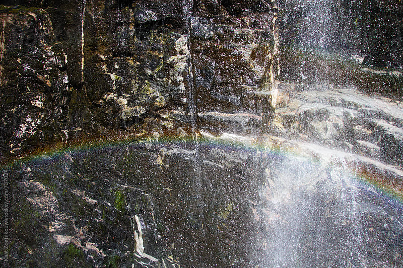 Double rainbow seen in a waterfall by Kaat Zoetekouw for Stocksy United