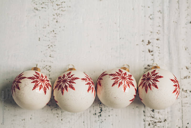 Christmas Ornaments on a Wooden Background by Mosuno for Stocksy United