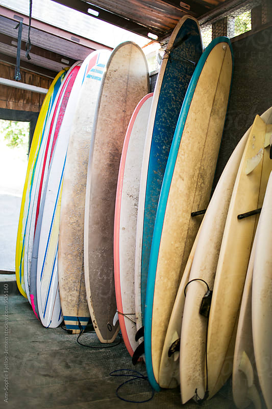 Stacked surfboards by Ann-Sophie Fjelloe-Jensen for Stocksy United