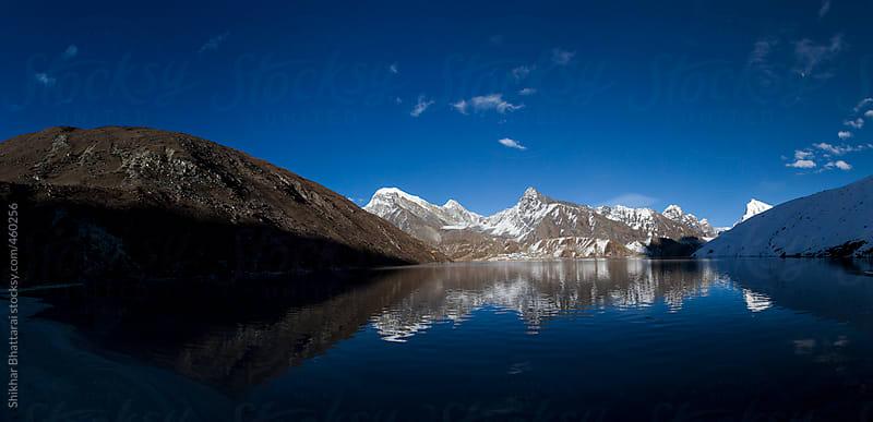 Panoramic view of Gokyo Lake, Gokyo town and the Gokyo Ri. by Shikhar Bhattarai for Stocksy United