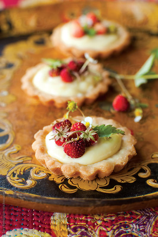Mini Wild Strawberry Tarts by Sara Remington for Stocksy United
