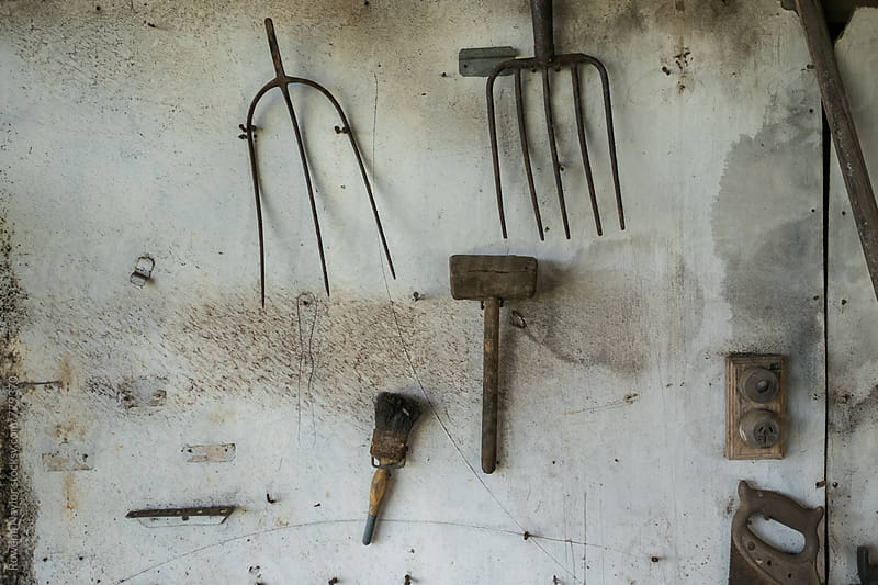 Old pitchfork and tools hung on shed wall by Rowena Naylor for Stocksy United