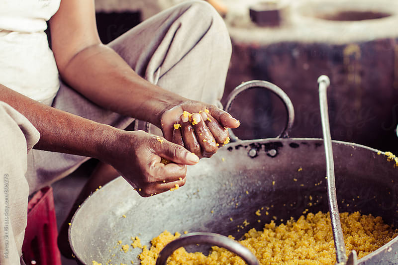 Close up of hands making street food in India by Maresa Smith for Stocksy United