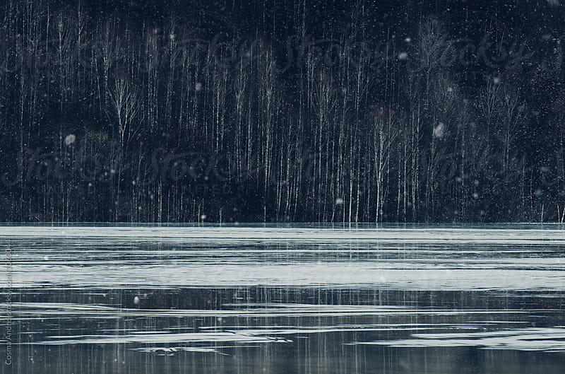 Snow flakes over lake in winter by Cosma Andrei for Stocksy United
