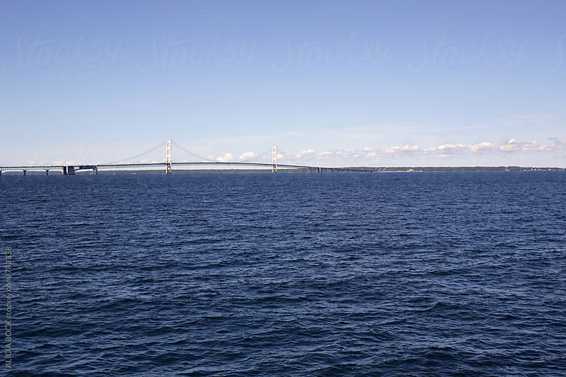 The Straits Of Mackinac And The Mackinac Bridge On A Summer Day by ALICIA BOCK for Stocksy United