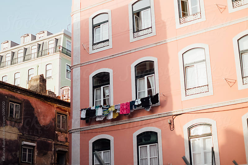 Pastel Pink Building In Lisbon, Portugal by Katarina Radovic for Stocksy United