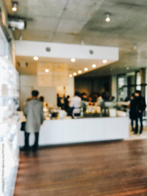 Stylish Large Coffee Shop Bokeh by Julien L. Balmer for Stocksy United