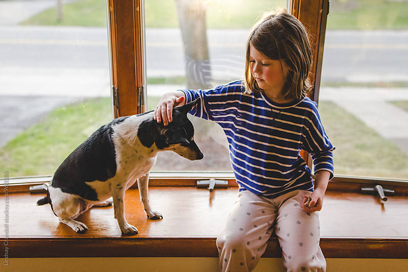 Young child petting a dog while sitting on a windowsill by Lindsay Crandall for Stocksy United
