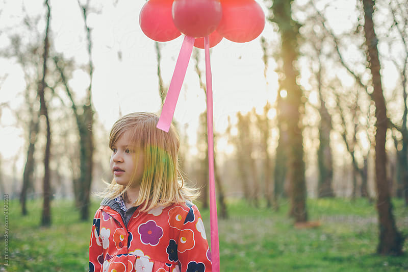 Blonde Girl With a Balloon in the Forest by Lumina for Stocksy United