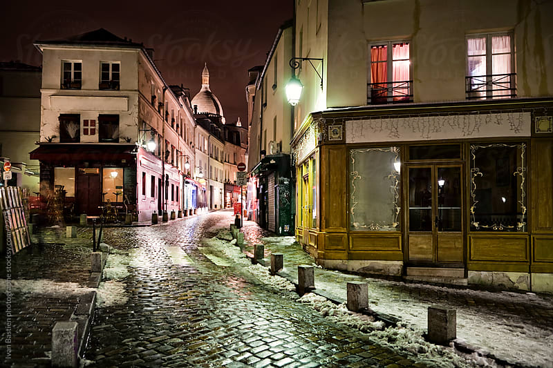 Little street on Montmartre Hill in Paris at night by Ivan Bastien for Stocksy United