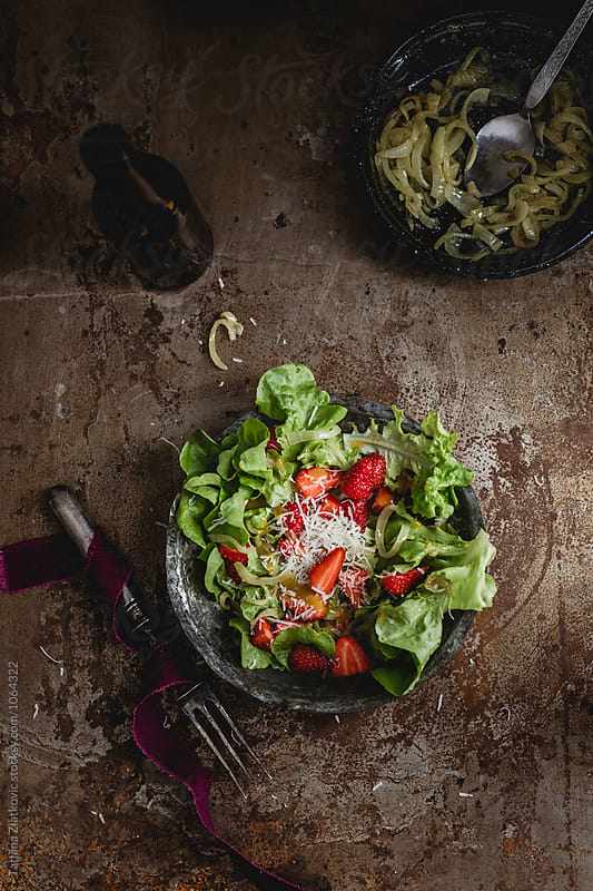 Strawberry salad by Tatjana Zlatkovic for Stocksy United