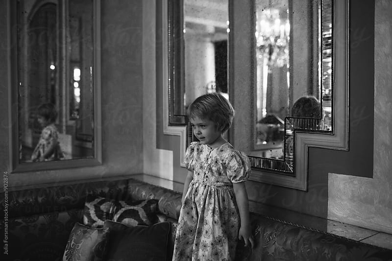 Girl in dress reflected in mirror by Julia Forsman for Stocksy United