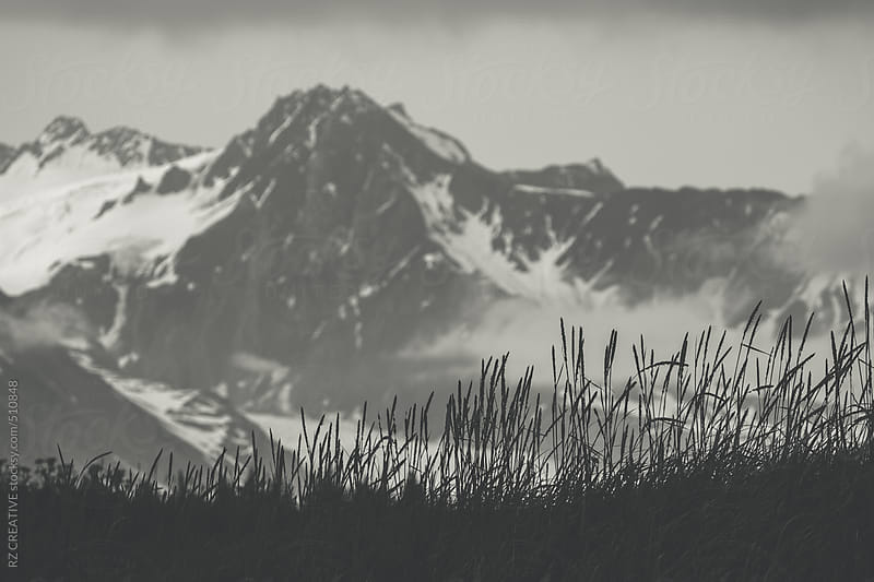 Black and white image of mountainous terrain in Alaska. by RZ CREATIVE for Stocksy United