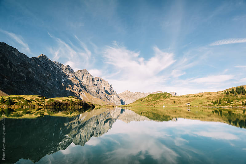 Trüebsee mountain lake panorama by Peter Wey for Stocksy United