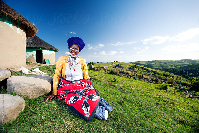 African Xhosa traditional healer woman by Micky Wiswedel for Stocksy United