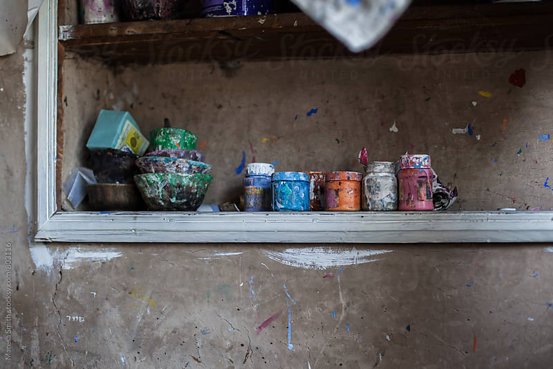 The artist's shelf by Maresa Smith for Stocksy United
