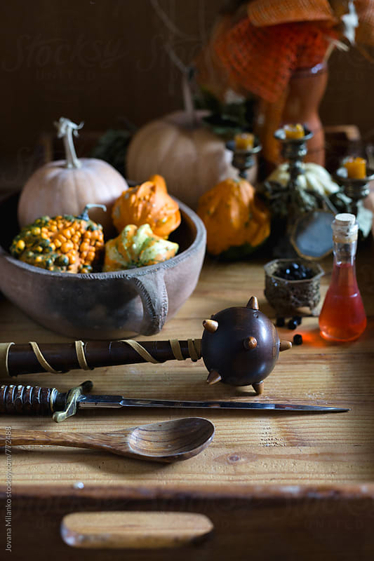 Tray decorated for Halloween with pumpkins   by Jovana Milanko for Stocksy United