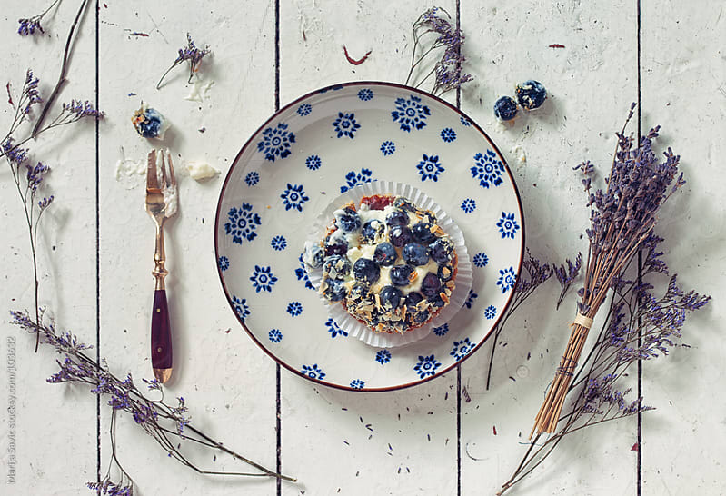 Blueberry Dessert Served on a Wooden Table by Marija Savic for Stocksy United