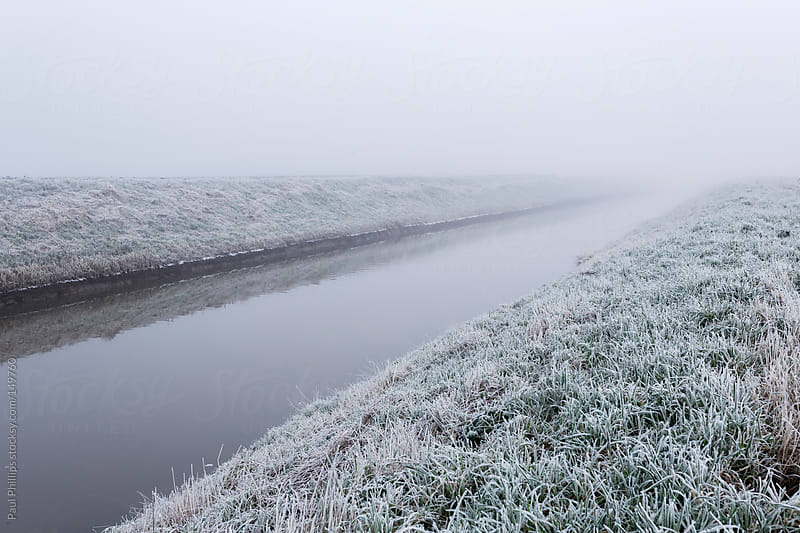 Frost and fog along a riverbank by Paul Phillips for Stocksy United
