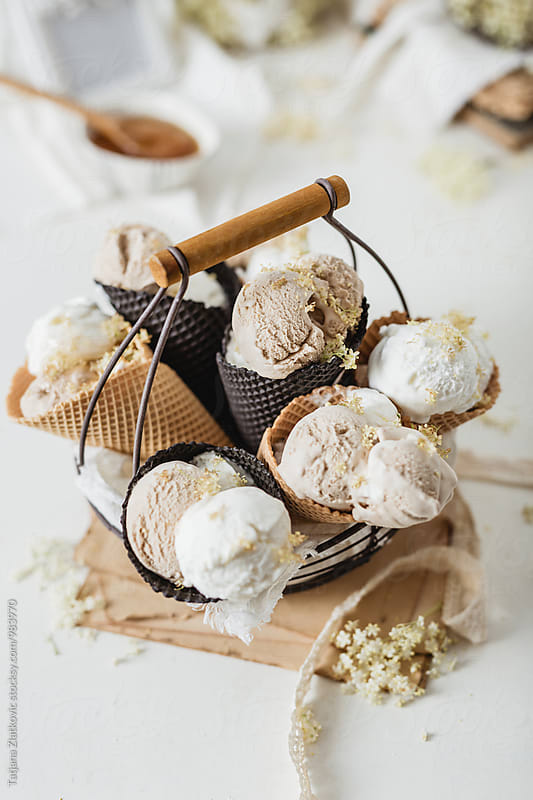 Ice cream in the basket by Tatjana Zlatkovic for Stocksy United