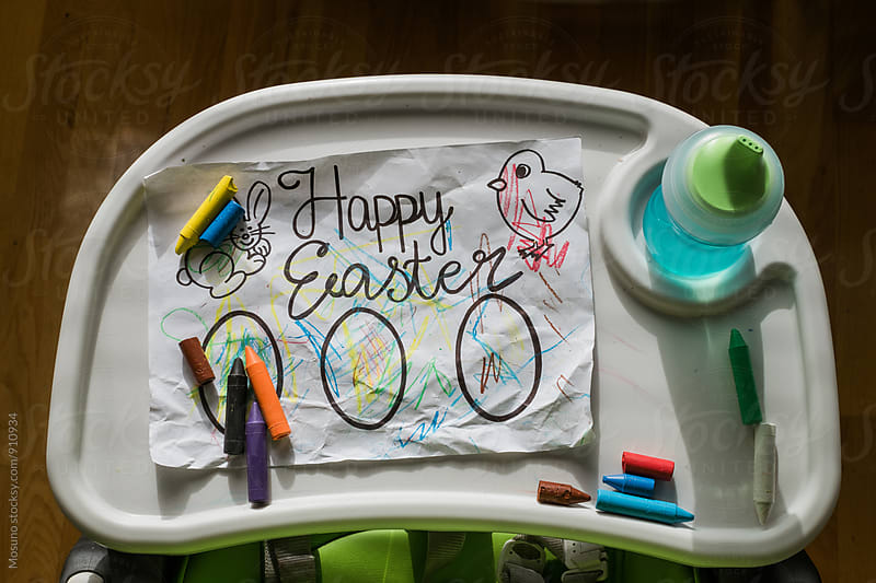 Happy Easter Paper on a Feeding Chair by Mosuno for Stocksy United