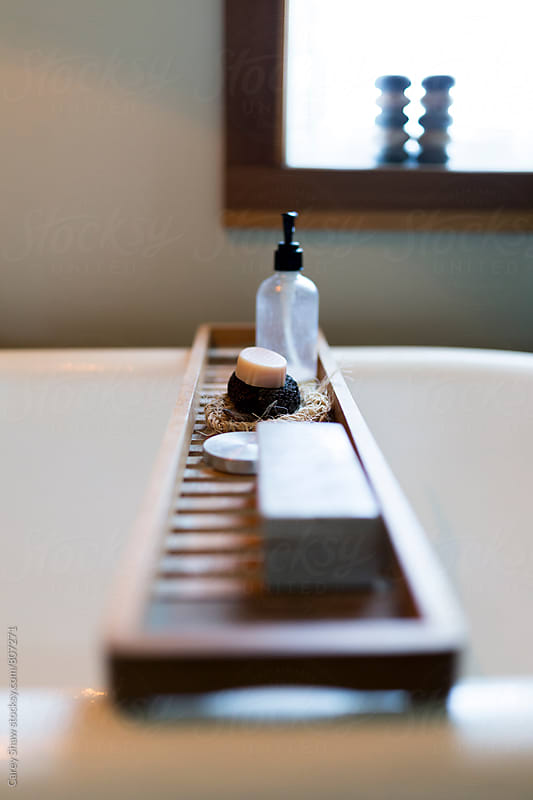 Detail of modern bathroom decor by Carey Shaw for Stocksy United
