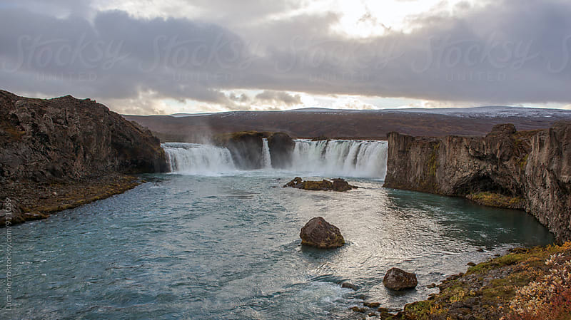 Godafoss waterfall by Luca Pierro for Stocksy United