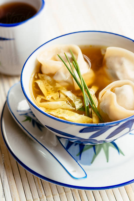 Shiiatke Wonton Soup by Harald Walker for Stocksy United
