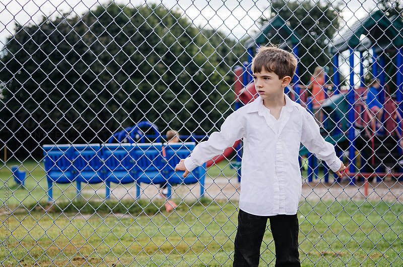 Nervous boy goes back to school by Cara Dolan for Stocksy United