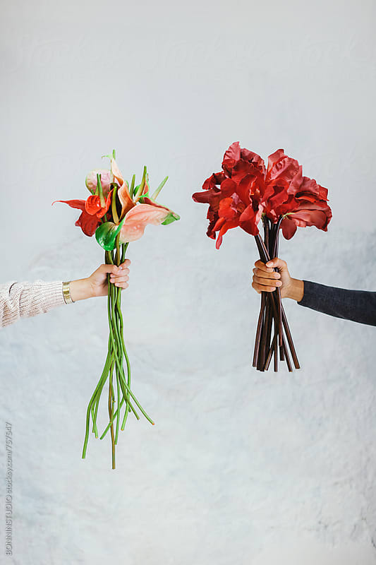 Hands of women holding a bouquets of flowers on a white wall. by BONNINSTUDIO for Stocksy United