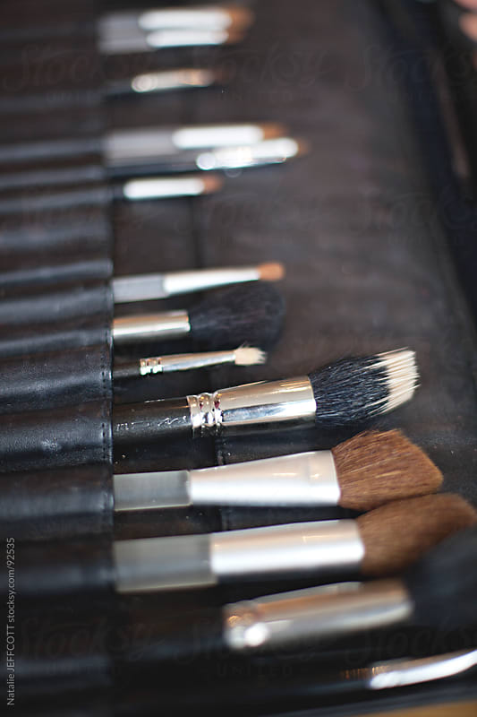 makeup artist tools and brushes by Natalie JEFFCOTT for Stocksy United